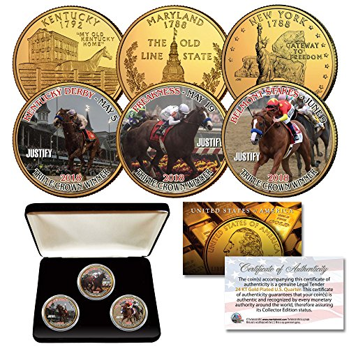 - JUSTIFY Triple Crown Horse KY/MD / NY Quarters 24K Gold Clad 3-Coin Set w/BOX