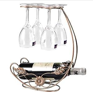 homeme Tabletop Wine Rack & Stemware Holder - Holds 1 Bottle and 4 Glasses - Freestanding Countertop Wine Glass Display Rack
