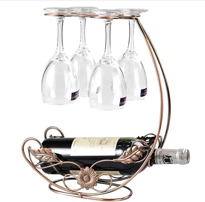 Homeme Vintage Tabletop Wine Rack Stemware Holder Holds 1 Bottle And 4 Glasses Freestanding Countertop Wine Glass Display Rack Bronze Home Kitchen Amazon Com