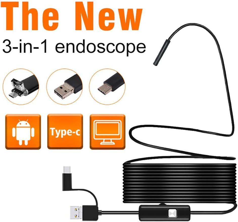 QYLT Endoscopio, 3 en 1 USB/Micro USB/Tipo C Camara Endoscopica 2.0MP CMOS HD Cámara Inspección, 6 LED/IP67 Semi Rígido Impermeable Boroscopio para Tableta Smartphone y Portátil