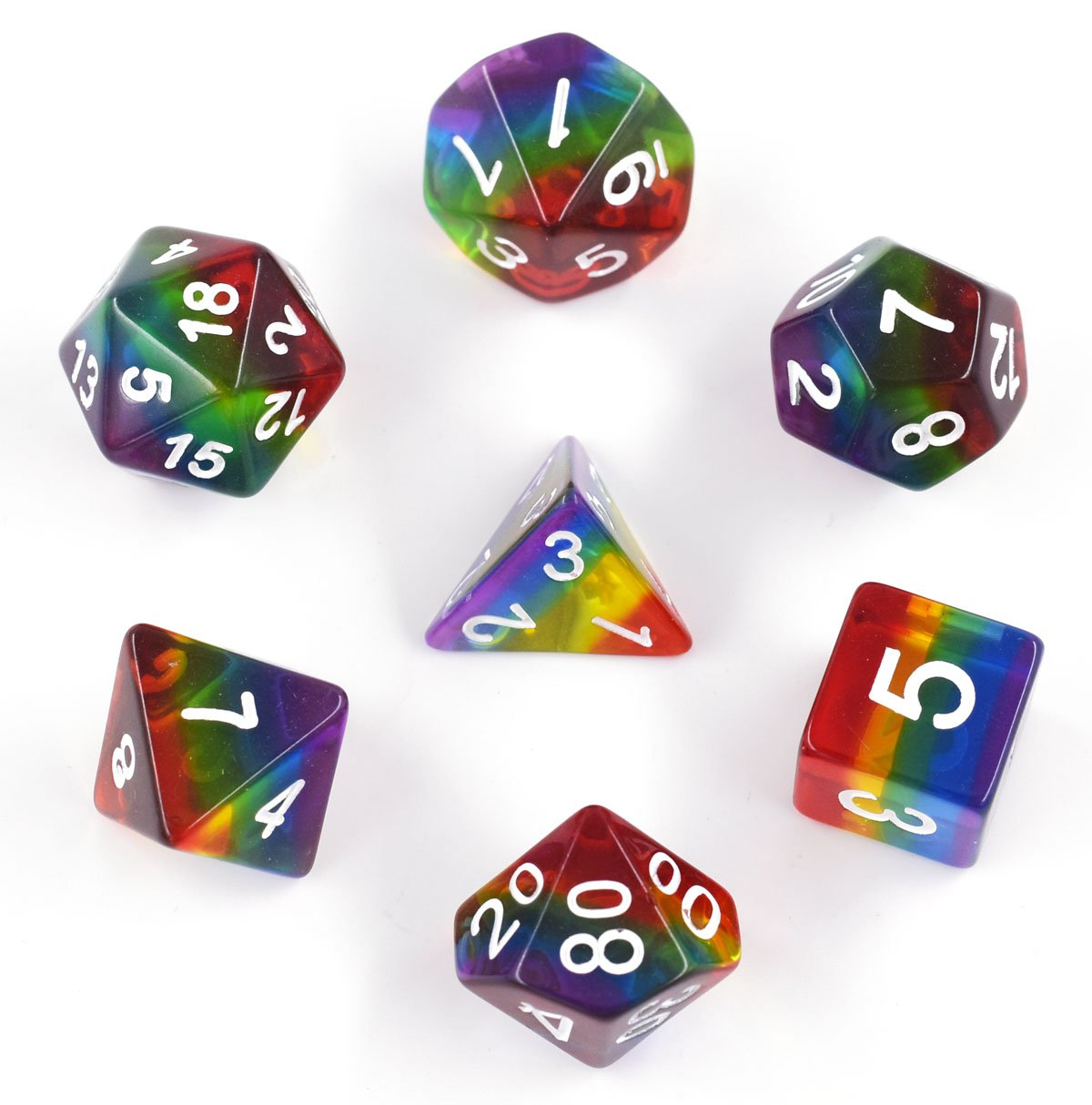 HUICHUANG Transparent Rainbow Dice, Polyhedral DND Dice Sets for Dungeons and Dragons Role Playing Game including Soft Dice Pouch