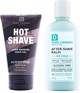 product image for Duke Cannon Supply Co. - Mens Perfect Shave Gift Set (2 Piece Set) Includes 1 Hot Shave Clear Warming Shave Gel (4.5 oz) & 1 Ice Cold After-Shave Balm (6 oz)