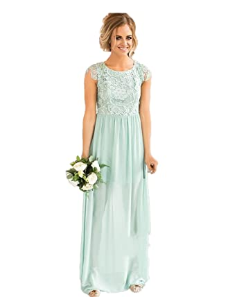 0d8944806c Automan Bridesmaid Dresses Lace Country Wedding Guest Party Gown Beach Prom Dress  2 Mint