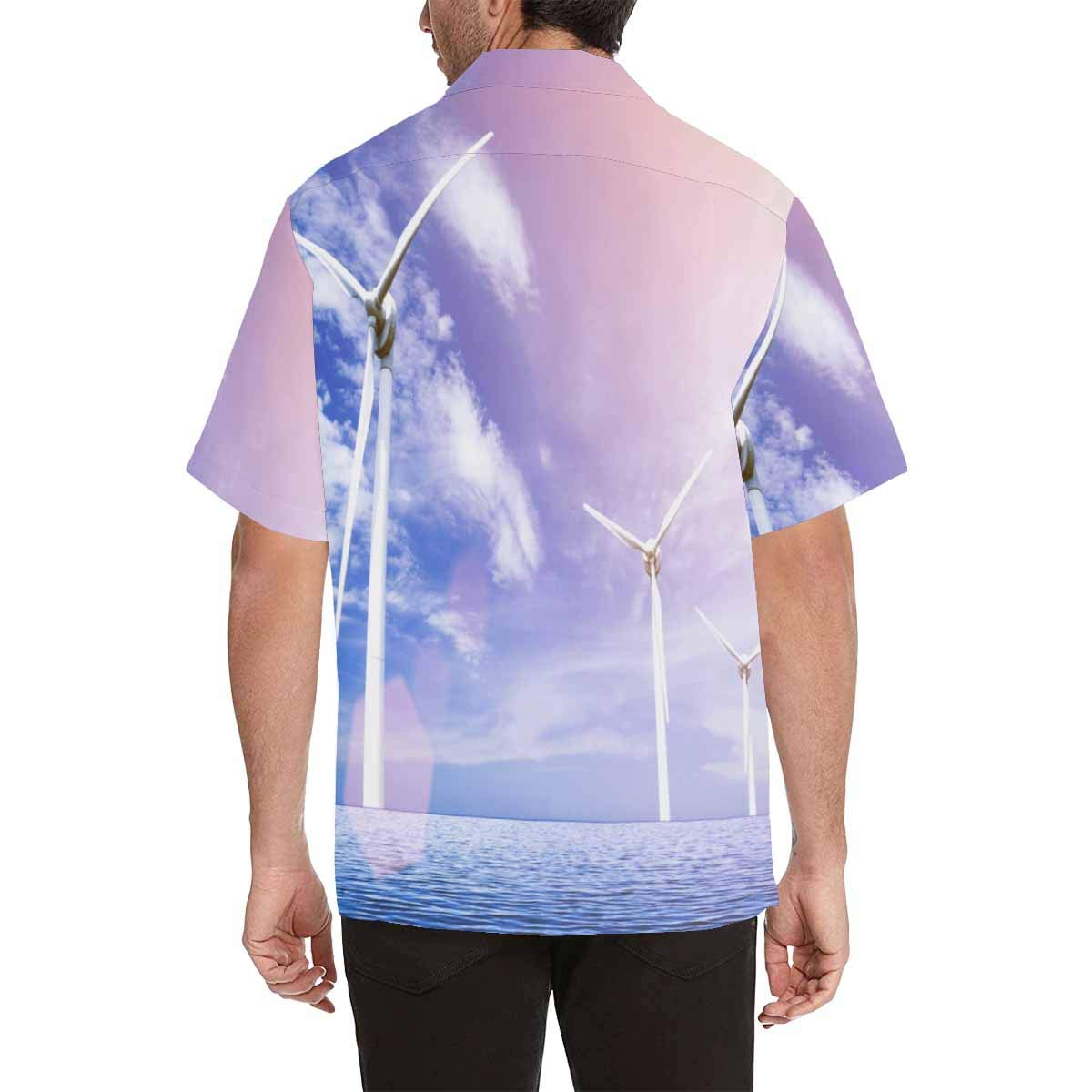 InterestPrint Men Button Up Milky Way and The Trees Short Sleeve Print Button Up Shirts