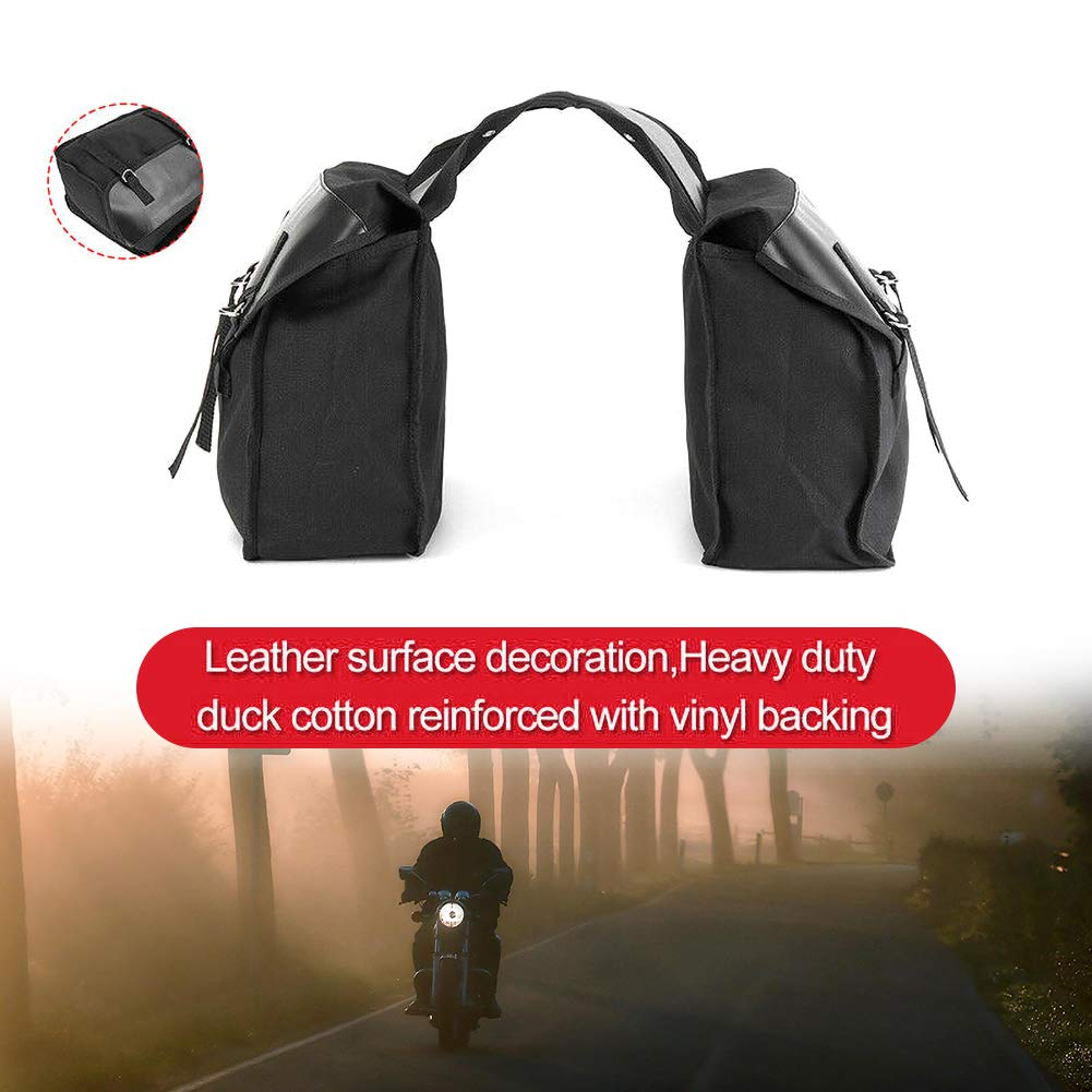 DEBBD Motorcycle Travel Saddle Bag Motorcycle Black Canvas Waterproof Saddle Box