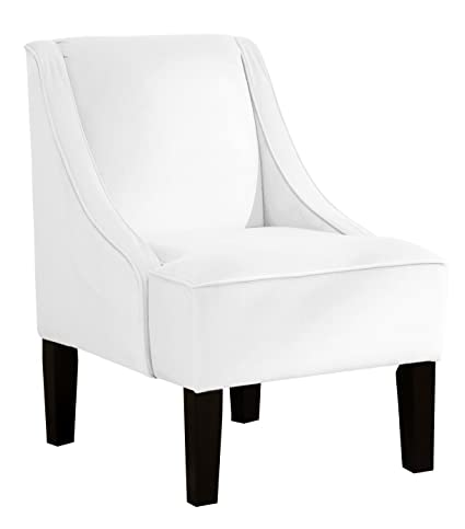 Gentil Skyline Furniture Swoop Arm Chair In Velvet White