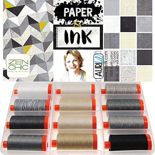 Aurifil Thread Set Paper & Ink by Brigitte Heitland 50wt Cotton 12 Large (1422 yard) Spools by Aurifil