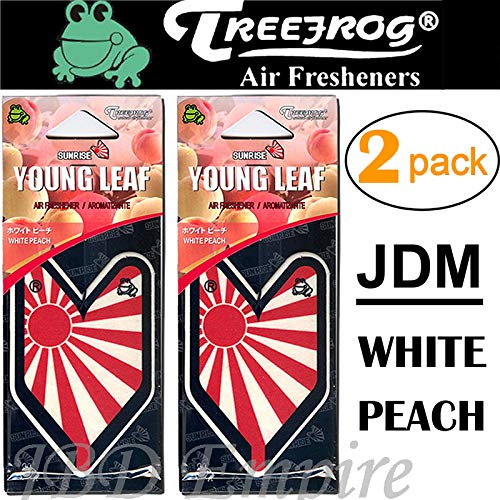 (2 Pack Wakaba Young Leaf YLWP93 Japan Tree Frog Peach Scents JDM Air Freshener, White)