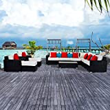 Outsunny 13pc Aluminum Frame Patio Wicker Rattan Sofa Furniture Set Loveseat Table w/Cushions Pillows