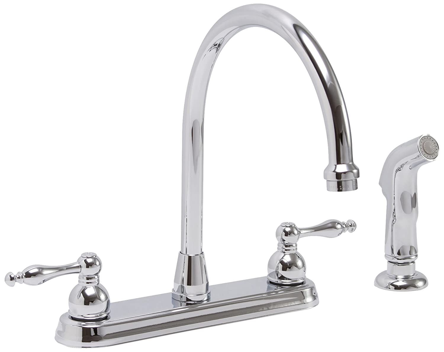 Premier Faucet 119261 Premier Wellington Lead-Free Two-Handle Kitchen Faucet with Matching Side Spray, Chrome