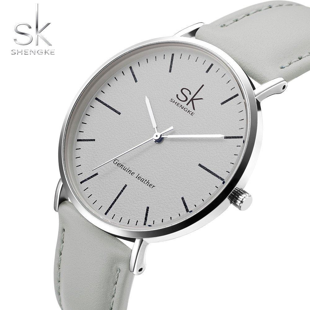 Amazon.com: SHENGKE Genuine Leather Ultra Thin Women Watches 2018 Women Quartz Watch Elegant Dress Ladies Watch K0082L (White case&Grey Strap): Watches