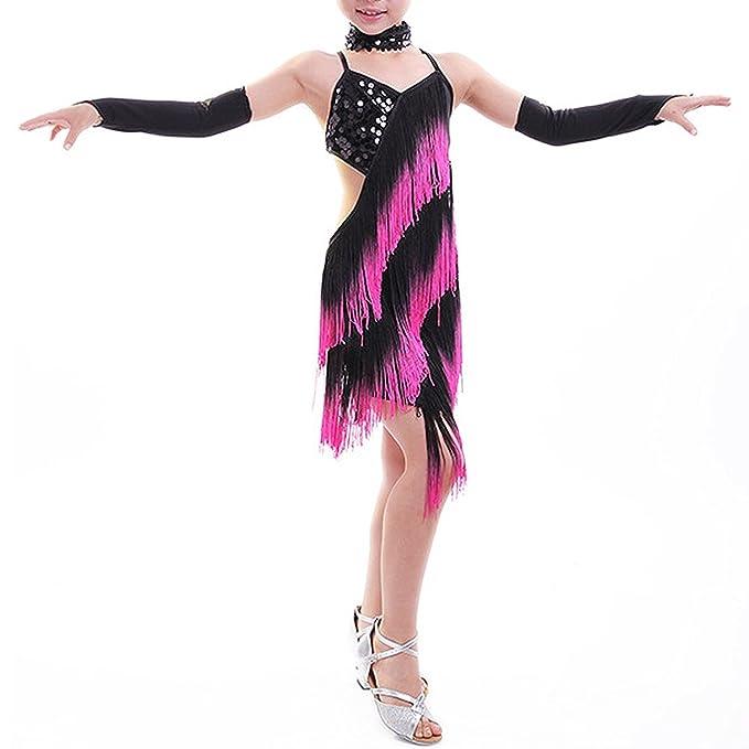 TOOGOO(R) Vestido De Danza Latina Rosa Negro con borla con Lentejuela Brillante para