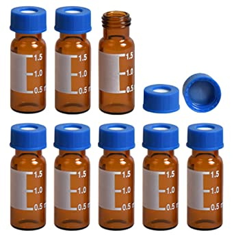 with Writing Area and Graduations , Amber /& Pre-Slit Silicone Septa 2ml Vial 100pcs//pk Autosampler Vial 9mm Blue Cap with pre-Slit PTFE and Silicone Septa 2mL 9-425 Amber with Write-on Spot