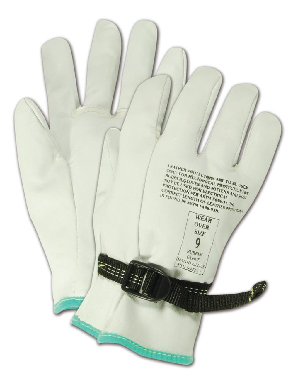 "Magid PowerMaster 12501PS Leather Linesman Protector Glove, For Use Over a Class 00 or Class 0 Rubber Insulating Glove, 9.5"" Length, Size 10 (One Pair)"