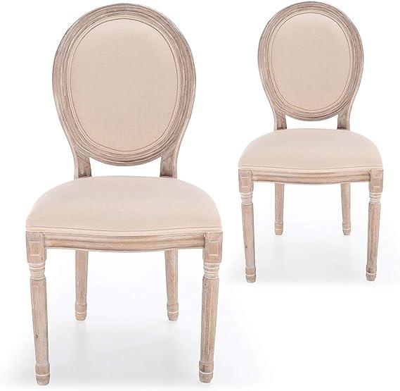 Menzzo - Juego de 2 sillas, diseño con medallón de Luis XVI, Tela, Color Beige: Amazon.es: Hogar