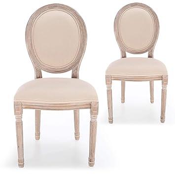 79a6c498b99f4 Menzzo Lot de 2 chaises médaillon Louis XVI Tissu Beige: Amazon.fr ...