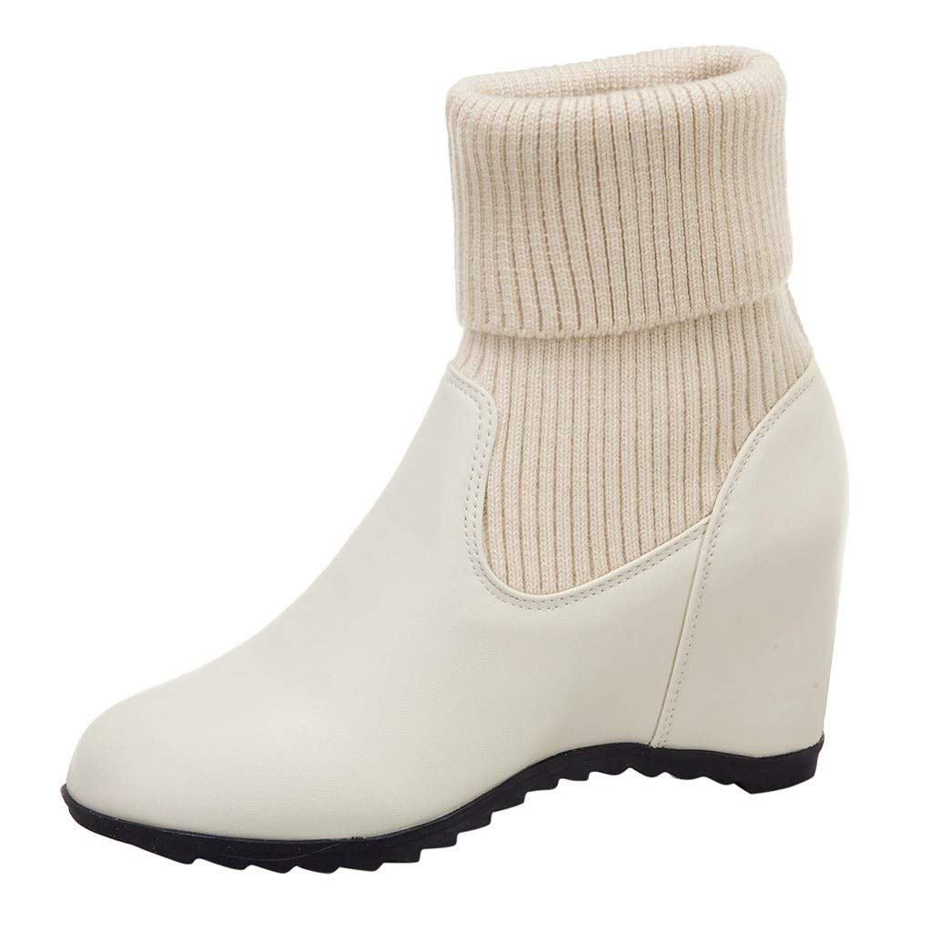 Dermanony Women's Slip-On Wedge Boots Fashion Solid Color Round Toe Middle Tube Socks Boots Keep Warm Casual Snow Shoes by Dermanony _Shoes