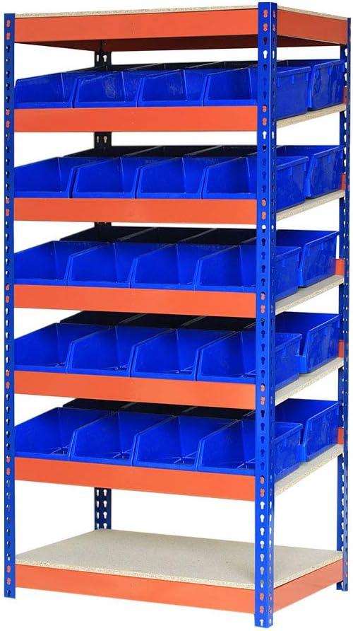 Estantería de alta resistencia con 7 niveles de color azul y naranja | 1800 mm de alto x 900 mm de ancho x 600 mm de profundidad con 40 recipientes de piezas