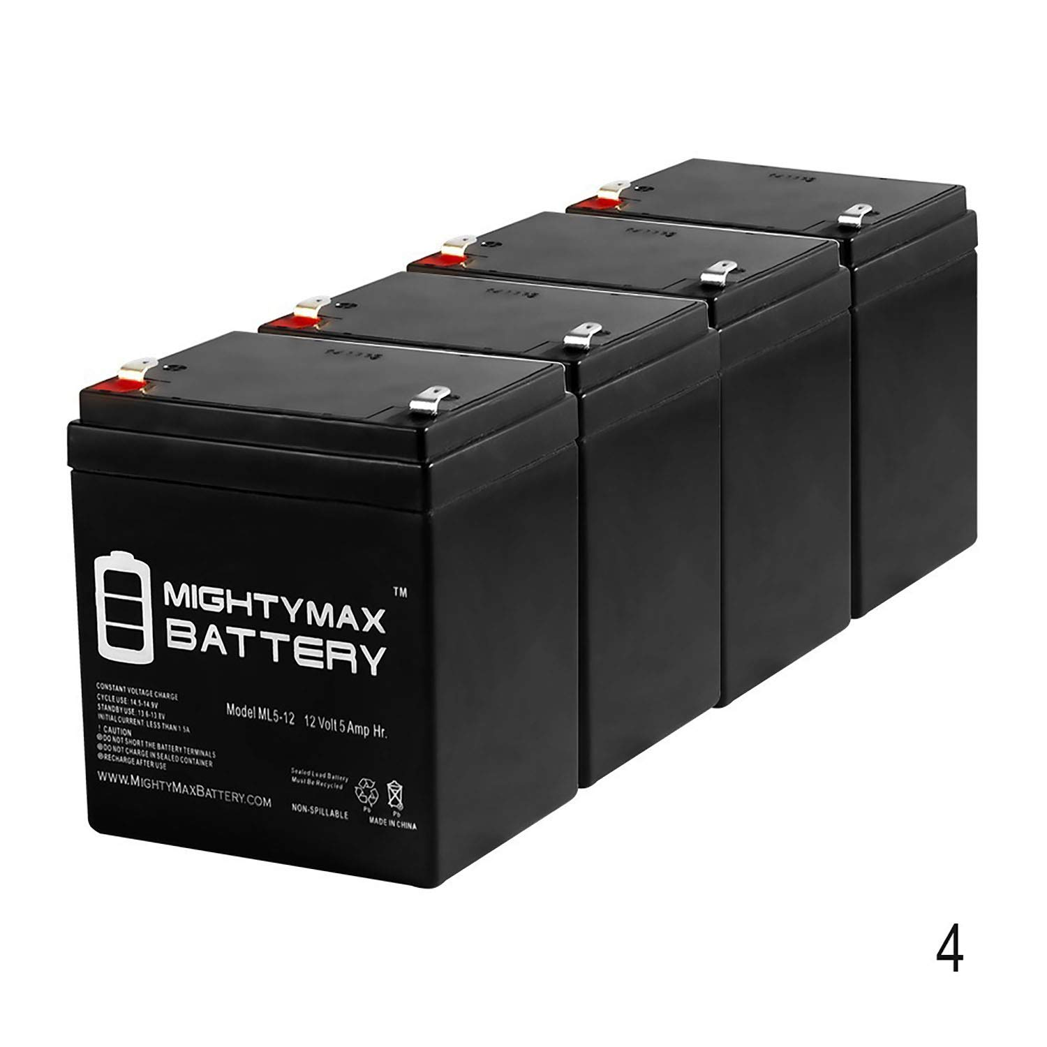 Mighty Max Battery ML5-12 - 12V 5AH Battery for Razor E100 E125 E150 E175 Electric Scooter - 4 Pack Brand Product