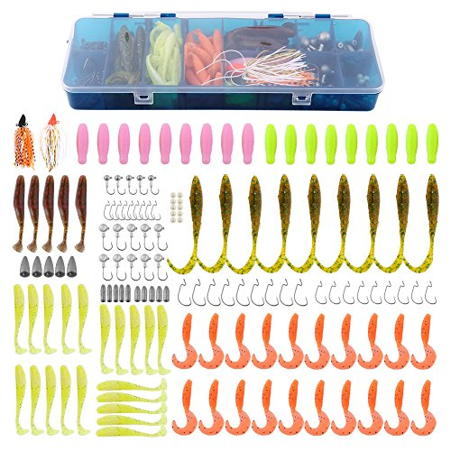 Fishing Tackle 143pcs Soft Bait Set Insertion Type Fishing Lure Tackle Box with Bullet Lead Sinkers Fishing Beads Crank Hooks T Tail Fishes Jig Head Hooks Curl Tail Soft Lures Spinners Worms Baits
