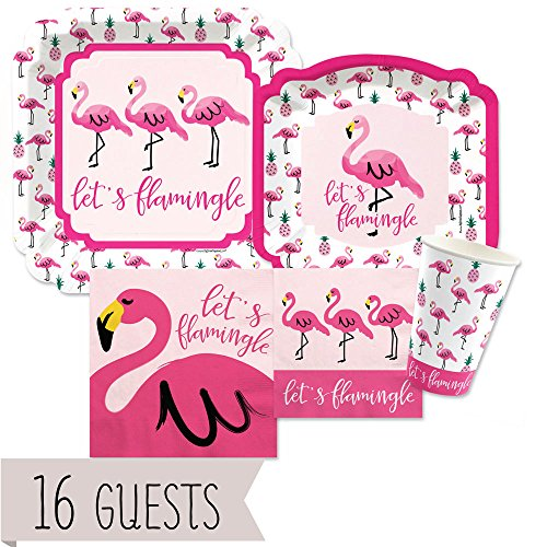 Big Dot of Happiness Pink Flamingo - Party Like a Pineapple - Tropical Summer Tableware Plates, Cups, Napkins - Bundle for 16
