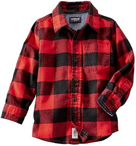 New Oshkosh Boys Plaid Flannel Shirt Top Blue 10,12,14