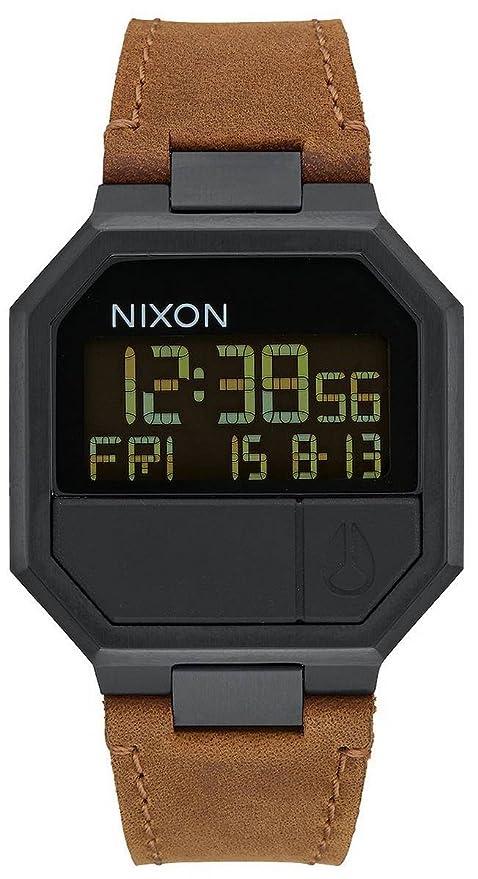 Amazon.com: Nixon Re-Run Leather A944-712 Mens Wristwatch Design ...