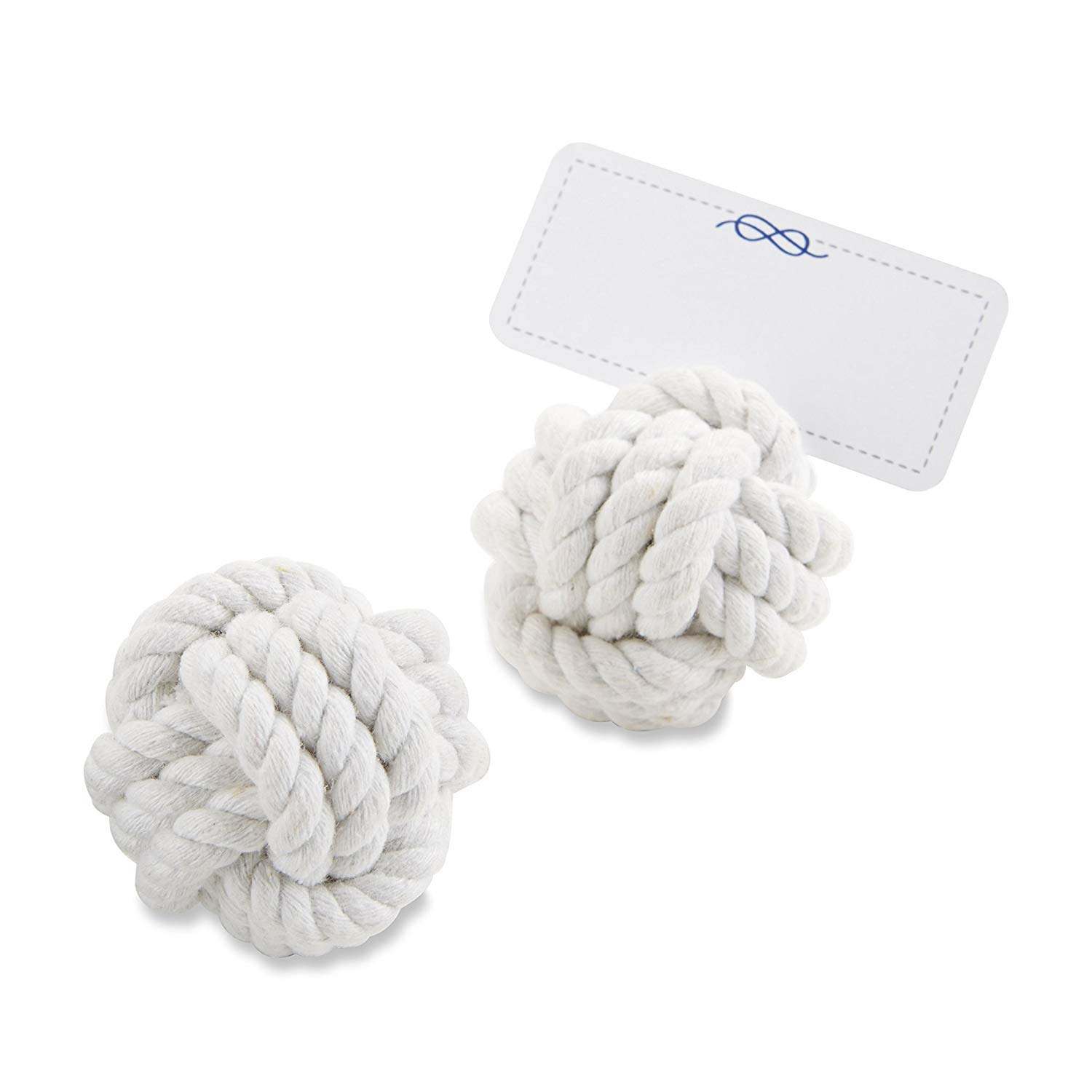 Kate Aspen 102 White Natural Cotton Nautical Cotton Rope Place Card Photo Holder Wedding Thank-You Gifts Baby Bridal Shower Table Décor Decorations Party Souvenir Favors