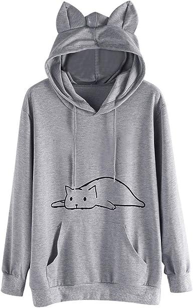 Sweat Shirt Femme Imprimé Sweat à Capuche de Oreille de Chat