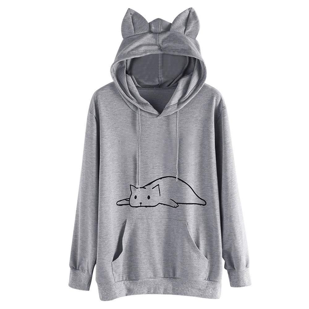 S,M,L,XL,XXL Womens Cute Sweatshirt Japanese Kawaii Style Kitty Cat Print Pocket Long Sleeve Thin Hoodie Tops Pullover