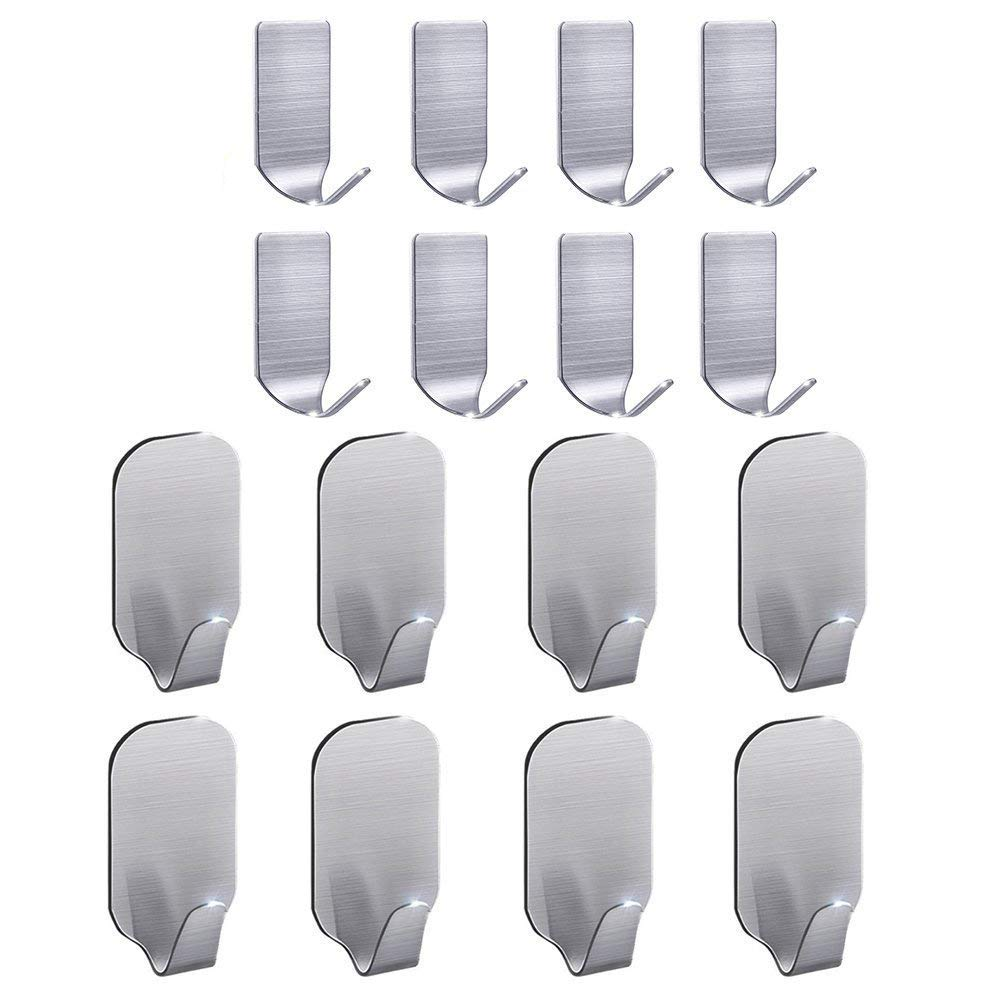 Adhesive Hooks, Wall Hooks Hangers Heavy Duty Waterproof Stainless Steel Sticky Hanger Hook for Kitchen Utensils, Keys, Robe, Coat, Towel, Bags-Bathroom, Home, Kitchen, Office (Pack of 16)
