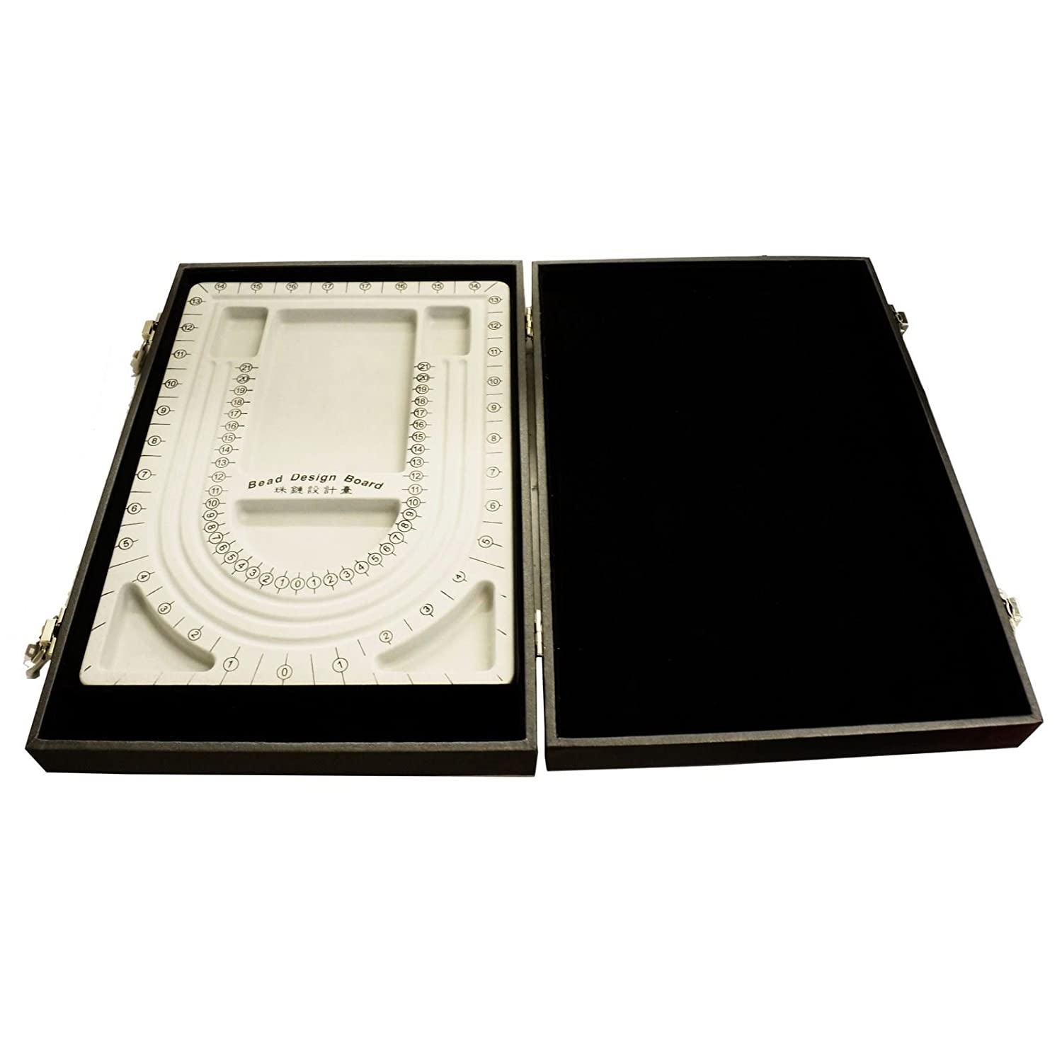 Black Bead Design Board Case Box w Plain Tray to Hold Jewelry tools and Supplies Princess-J