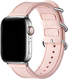 BesBand Compatible with Apple Watch Bands 44mm 42mm 40mm 38mm for Women Men,Soft Silicone Sport Strap Replacement Band for Apple Watch SE & iWatch Series 6/5/4/3/2/1 (Pink sand/Silver, 42mm 44mm)