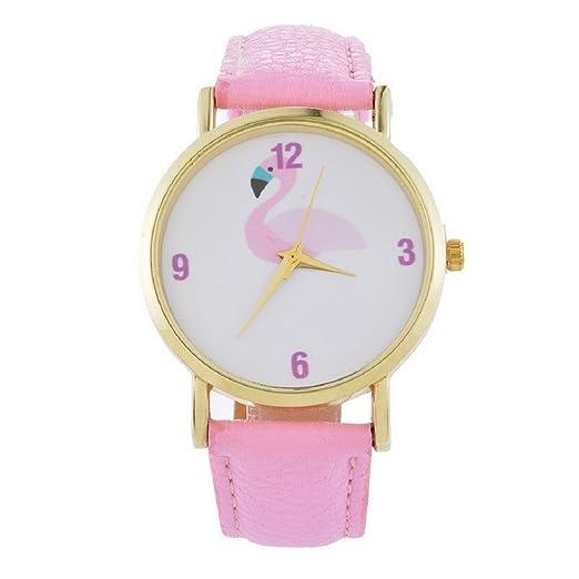 Reloj de pulsera para mujer MJARTORIA, de cuarzo con correa de piel, diseño de flamencos, color rosa: Amazon.es: Relojes