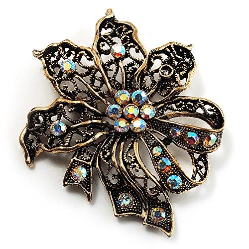 Bronze-Tone Vintage Filigree Floral Brooch -