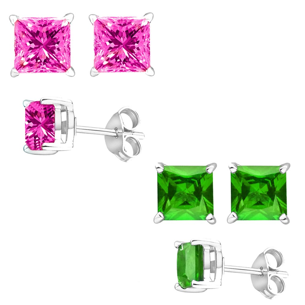 Unique 925 Sterling Silver Combo Cubic Zirconia Pink /& Simulated Peridot Color Princess Stud Earrings 2.00 Carat Total Weight Each Pair