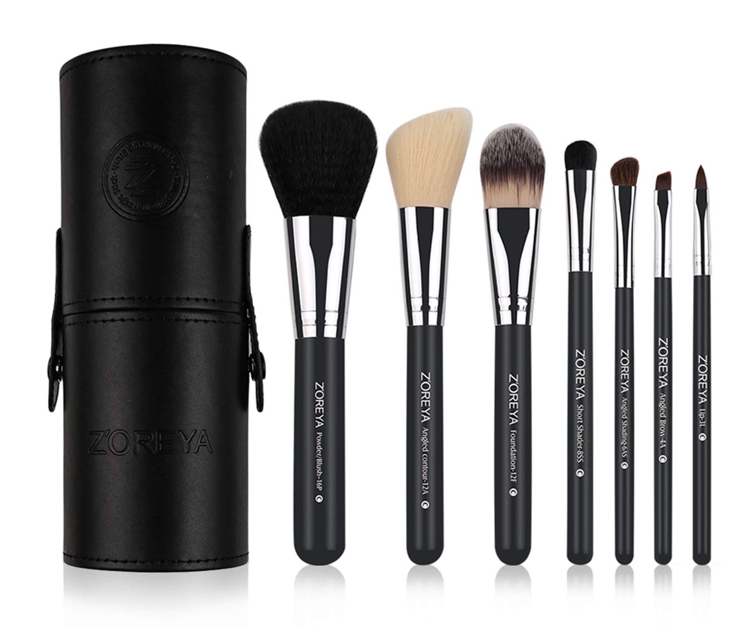 Makeup Brush Set Black Cone- 7 Zoreya Professional Makeup Brushes With Premium Synthetic Fiber And Free Luxury Case Kit