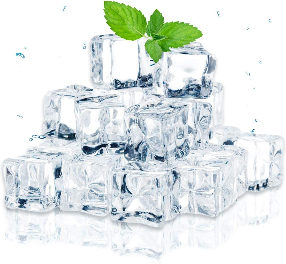 Fvcisshhu 50Pcs 20mm Clear Acrylic Fake Ice Cubes,Artificial Decorative Ice Cube Display,Square Shape Plastic Ice Rock for Home Kitchen Decoration,Wedding Decor,Photography Prop,Vase Fillers