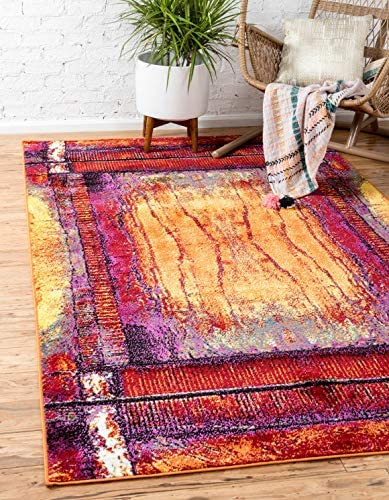 Unique Loom Modern Abstract 8 feet by 10 feet 8 x 10 Metro Yellow Contemporary Area Rug