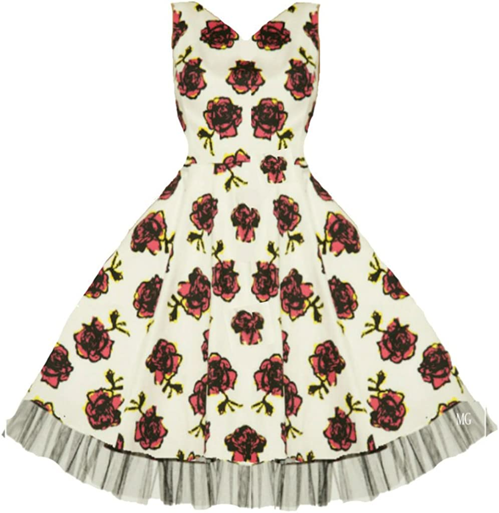 Hearts /& Roses London Cherry Rockabilly Dress Pin Up Vintage 50 Party Swing 50s