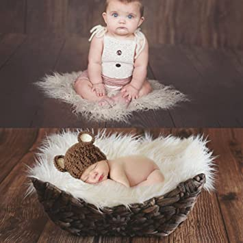Newborn Baby Girl Boy Infant Faux Leather Moon Pillow Photo Photography Props