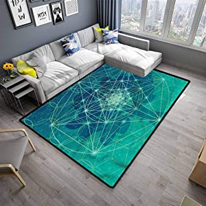 "Modern Indoor Rugs Sacred Geometry Rugs for Dorm Home Kids Tree with Shapes (4'7""x5'2"")"