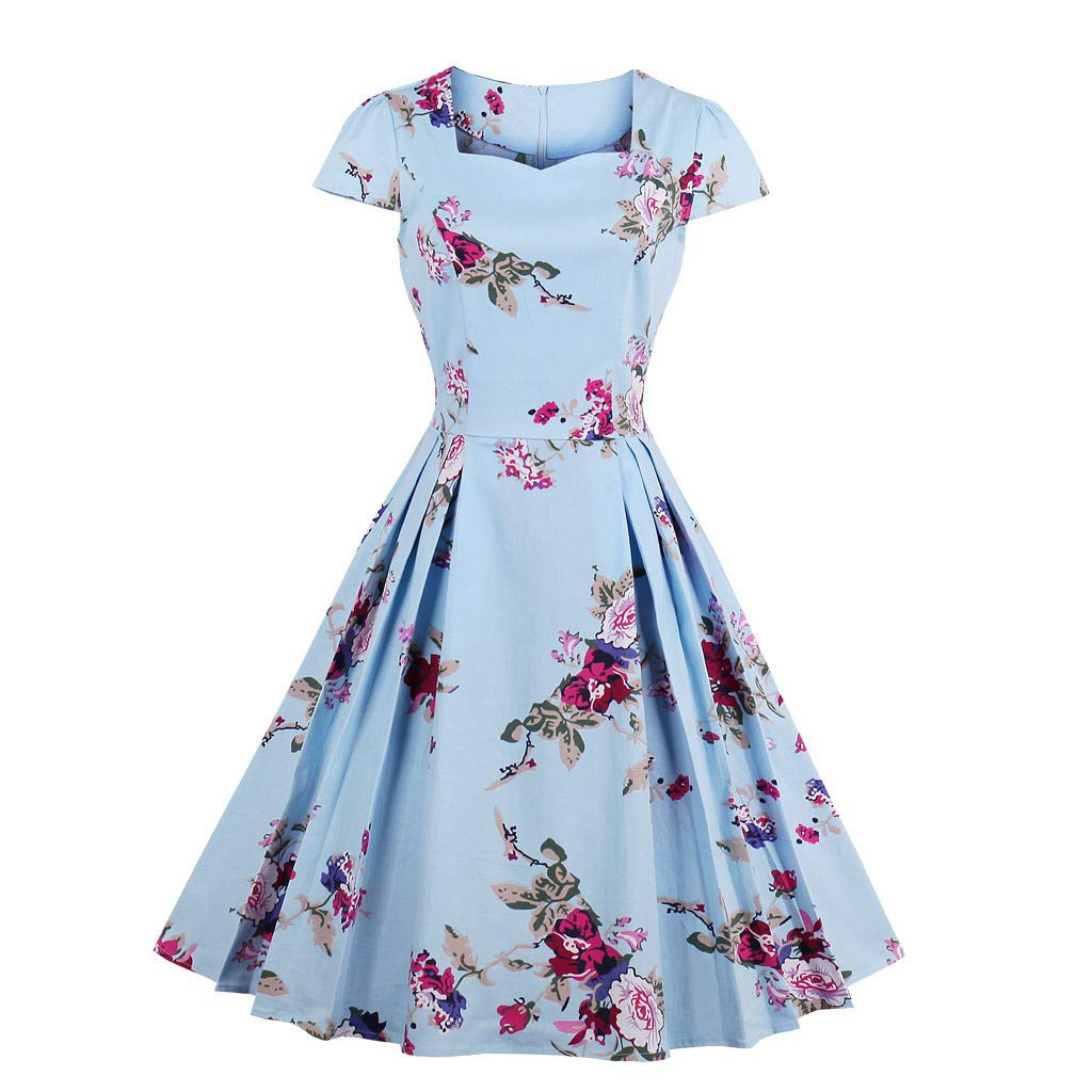 The Best Easter Gift!!!Women\'s Dress Aries Esther Plus Size Short Sleeve  Floral Print Party Vintage Swing...