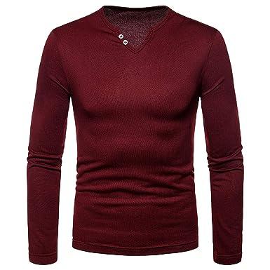410d165e2dbf Togelei Männer Casual Langarm Einfarbig Knopf V-Ausschnitt T-Shirt Tops  Herbst Winter Solide