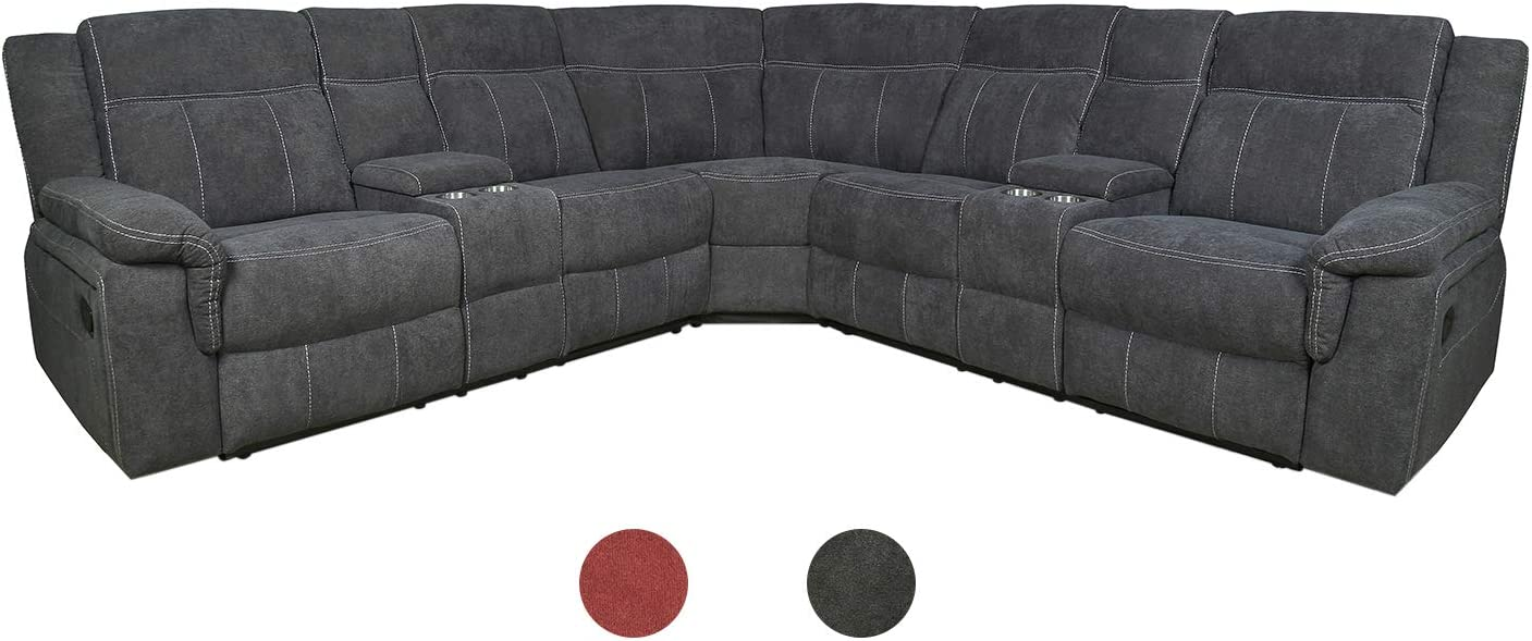 Classic and Traditional Bonded Fabric Manual Reclining Corner Sectional Sofa w/Cup Holder Living Room