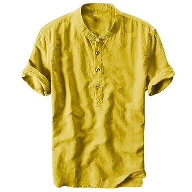 DOGZI Camisetas Hombre, Fresco Transpirable Collar de pie Algodón ...