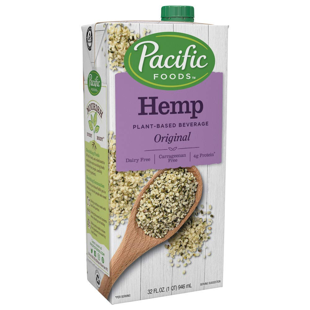 Pacific Foods Hemp Milk, Original 32 oz (Pack of 12), Shelf Stable, Plant-Based, Vegan, Non GMO