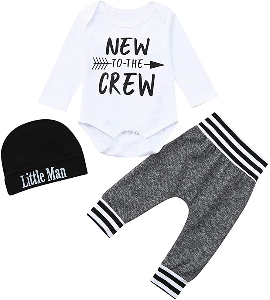 LIKESIDE 3PCS Toddler Baby Long Sleeves Letter Romper Jumpsuit+Pants+Hat Cap Set Outfit