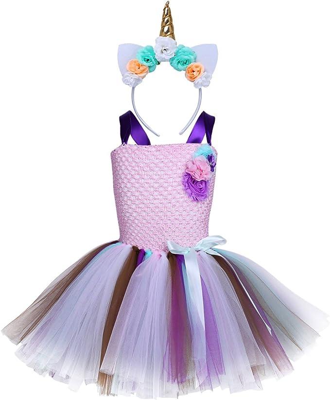 YiZYiF Disfraz Unicornio Niñas Vestido Fiesta Tutú Disfraz ...