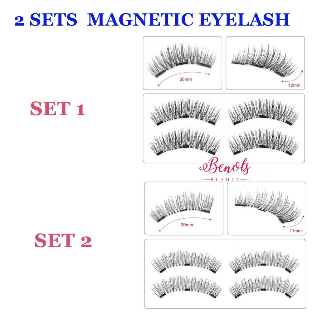 e899eb181ff Benols Beauty Pack of 8pcs, 2 Pairs, 2 Style Magnetic Eyelashes, Dual Fake  False Lashes Ultra Thin Magnets, 3D Premium Fiber Reusable Extension for  Natural ...